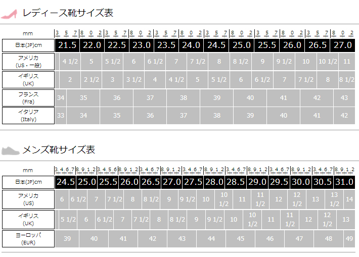 海外靴は日本とは違い足の甲の幅が狭く厚さが薄い物が多いです。靴幅サイズ(Width)も注意してお選びください。